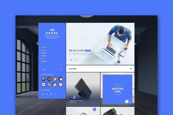 Thumbnail for Kodra - Single Page PSD Template