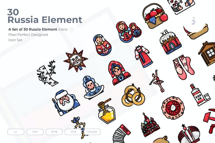 Thumbnail for 30 Russia Element Icons
