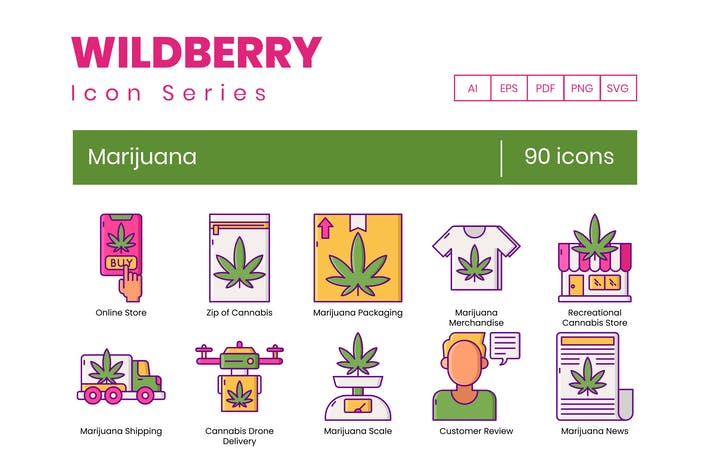 Thumbnail for 90 Marijuana & Weed Icons | Wildberry Series