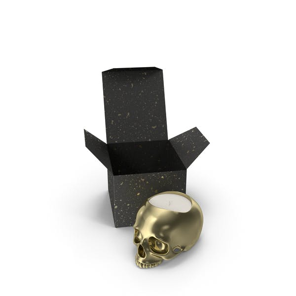 Gold Skull Head Candle with Box