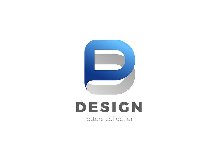 Letter D Logo design 3D Ribbon style