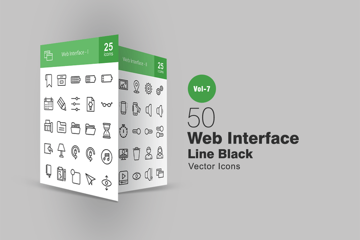 Cover Image For 50 Web Interface Line Icons
