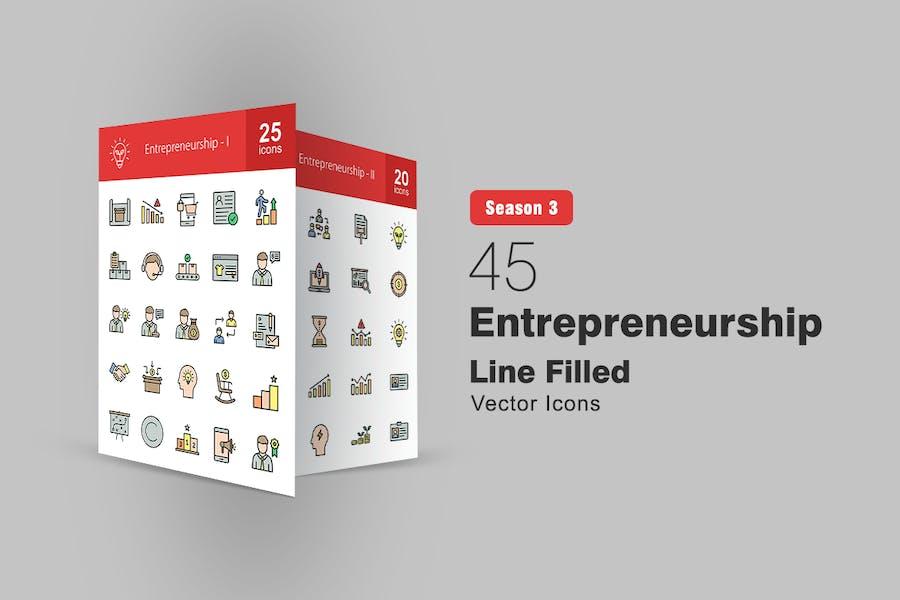 45 Icons für gefüllte Linien für Entrepreneur