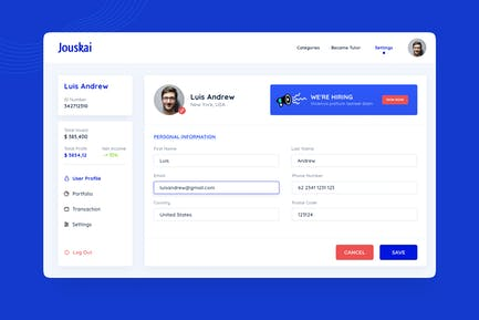 Finance Webiste Edit Settings Page
