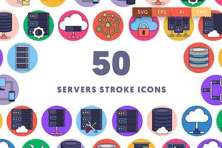 50 Servers Stroke Icons
