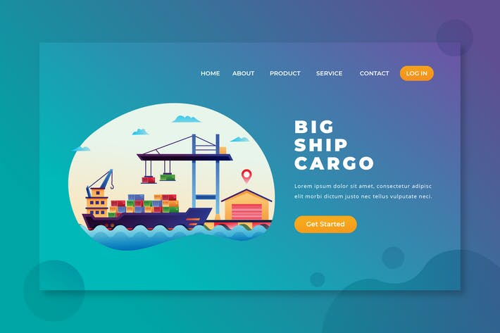 Thumbnail for Big Ship Cargo - PSD and AI Vector Landing Page