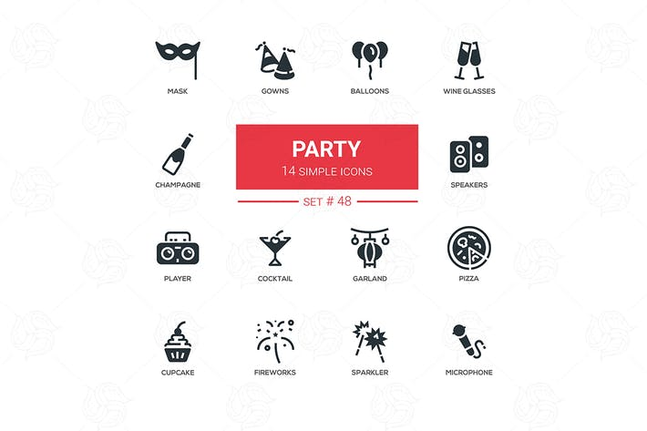 Thumbnail for Leisure concept, party - line design icons set