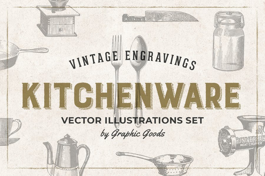 Kitchenware - Engraving Illustration Set