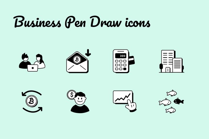 Business Pen Draw Icons