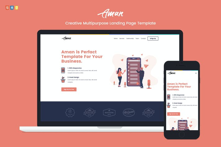 Thumbnail for Aman — Multipurpose Landing Page Template