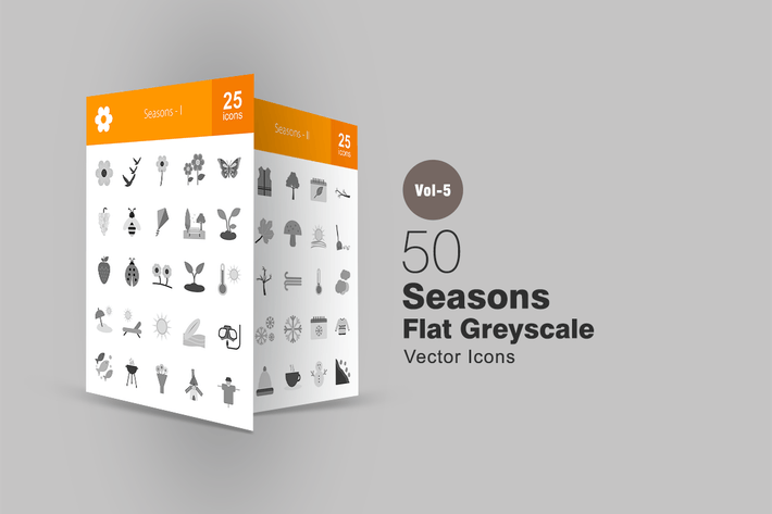 Thumbnail for 50 Seasons Greyscale Icons