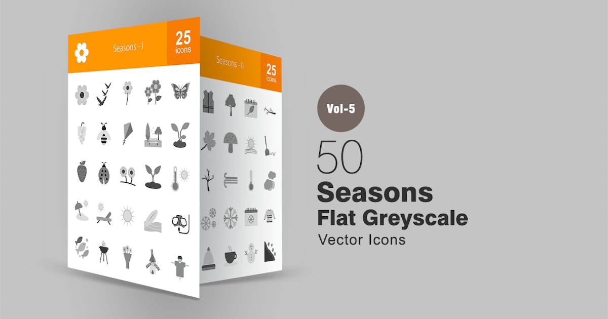 Download 50 Seasons Greyscale Icons by IconBunny