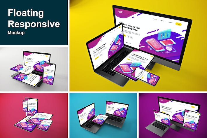 Thumbnail for Floating Responsive Mockup