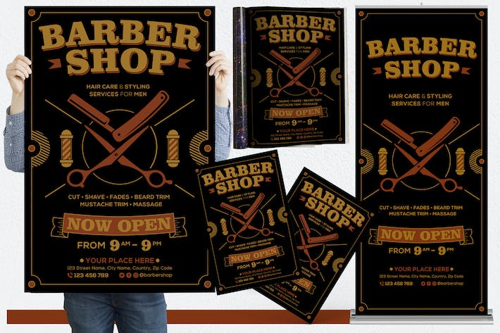 Thumbnail for Barber Shop #01 Print Templates Pack