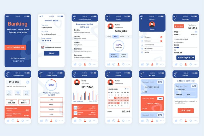 Thumbnail for Banking Mobile App UI Kit
