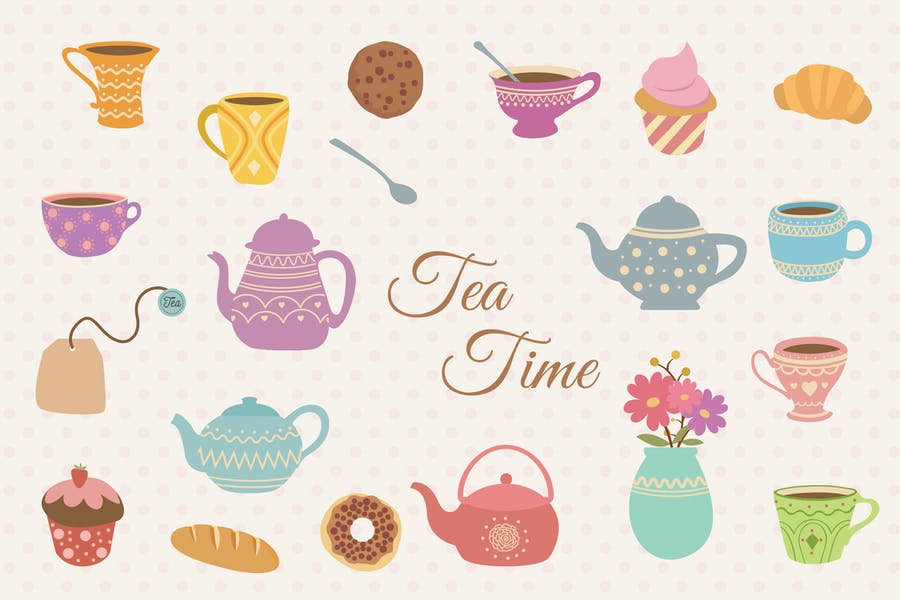Tea Time Hand Drawn