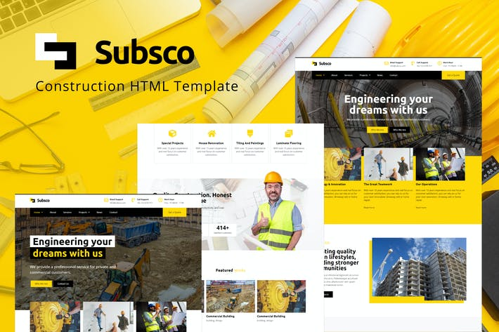 Thumbnail for Subsco - Construction HTML Template