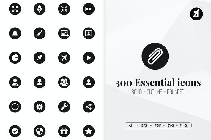 Thumbnail for 300 Essential minimal icons