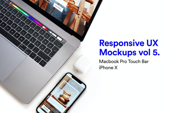 Thumbnail for Responsive App Mockup - Macbook Pro and iPhone X