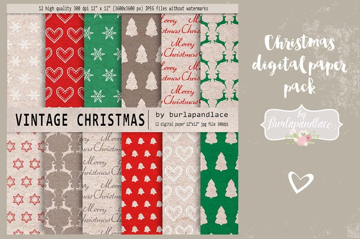 Thumbnail for Christmas digital paper pack