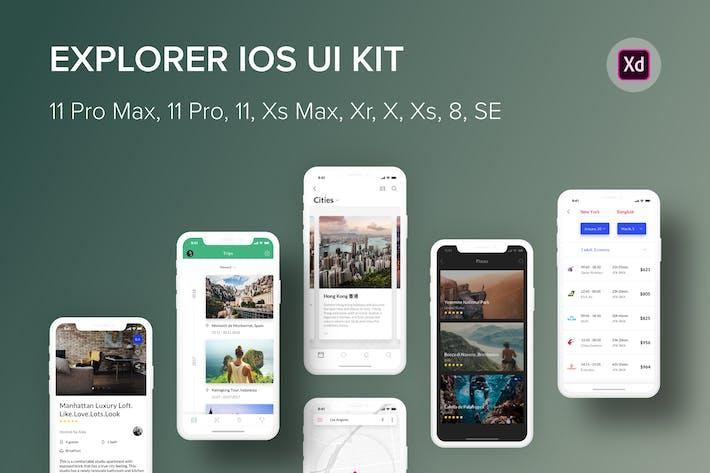 Cover Image For Explorer iOS UI Kit (Adobe XD)