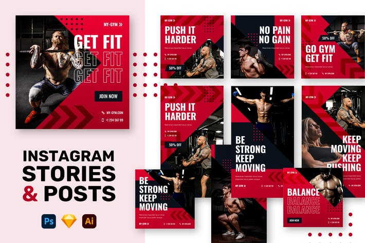 Thumbnail for Gym Instagram Stories + Posts