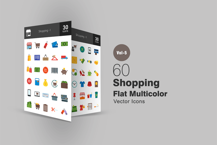 Thumbnail for 60 Shopping Flat Multicolor Icons