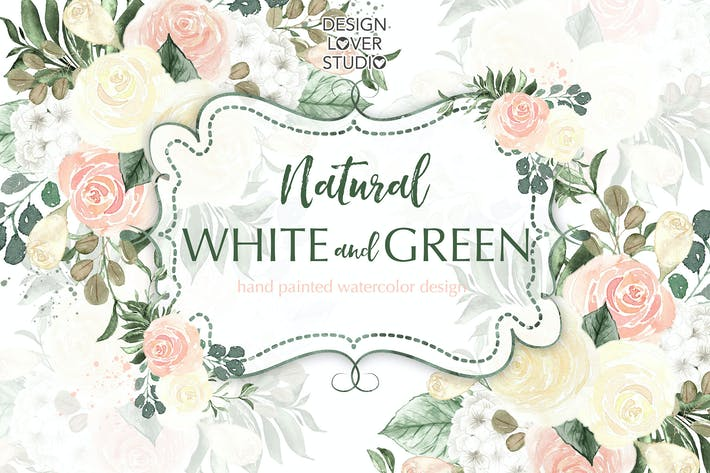 Cover Image For Watercolor flowers white and green design