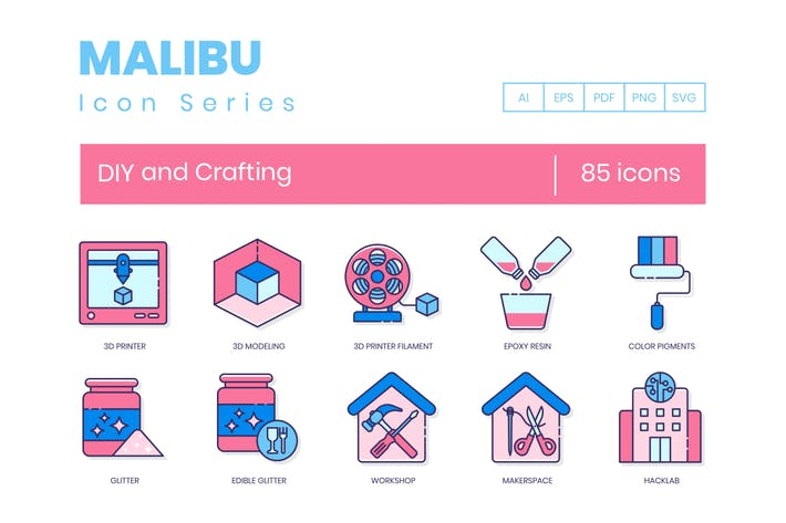 Thumbnail for 85 DIY and Crafting Line Icons
