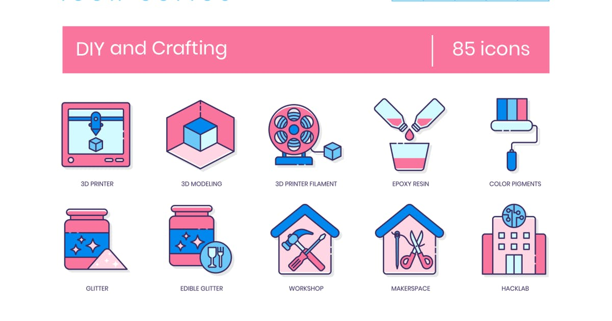 Download 85 DIY and Crafting Line Icons by Krafted