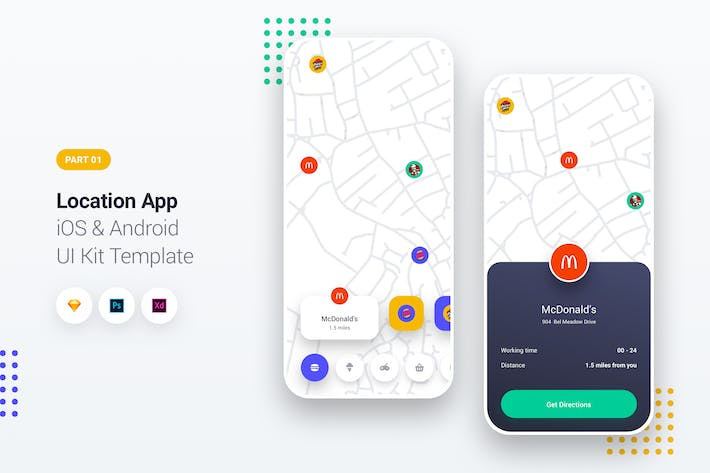Cover Image For Location App iOS & Android UI Kit Template 1