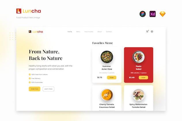 Luncha - Food Product Website Hero Image UI