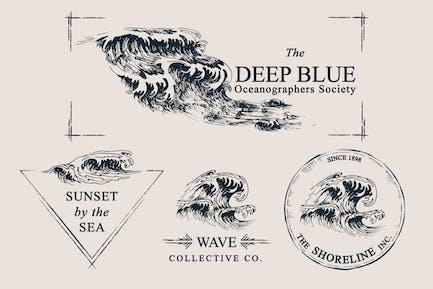 Olas Ocean Ilustraciones & Plantillas