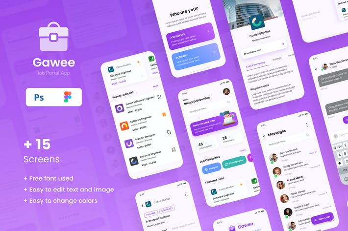 Thumbnail for Gawee - Job Portal iOS App Design UI Template