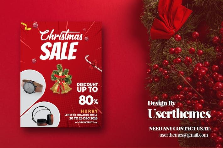 Christmas Discount Flyer marketing Template by UserThemes on