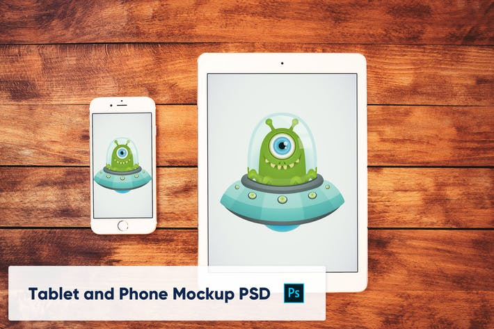 Thumbnail for Phone and Tablet on Wooden Background - Mockup PSD