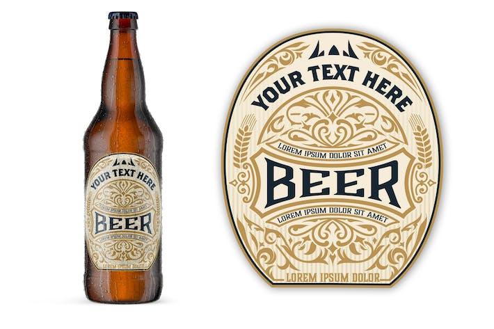 Макет этикетки пива в винтажном стиле