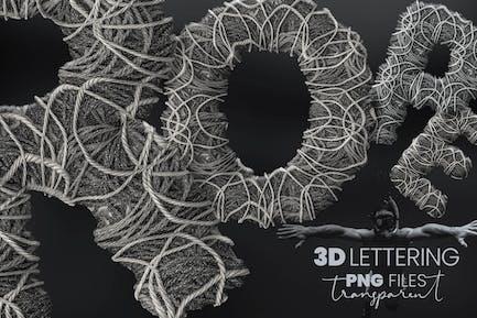 Grau Seil Flor 3D Buchstaben