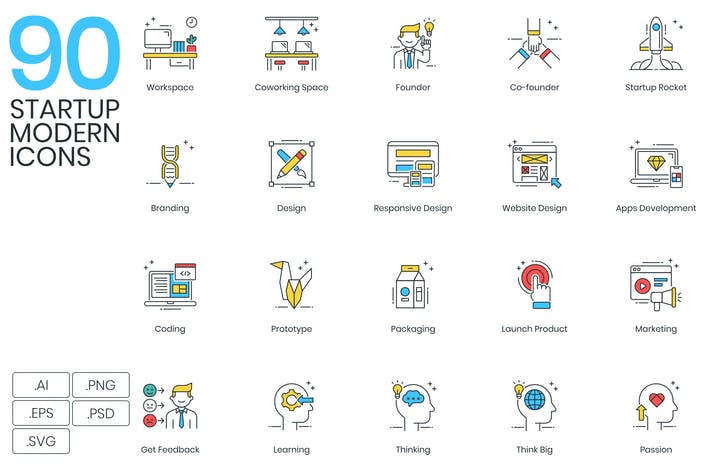 Thumbnail for 90 Modern Startup Icons