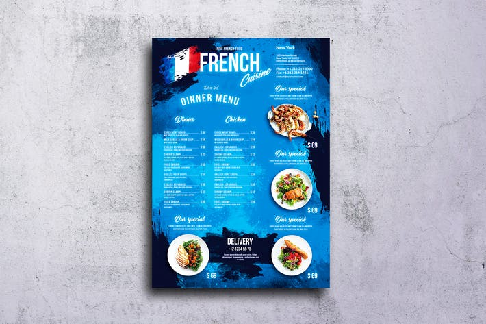 Thumbnail for French Food Menu Design A3 Poster