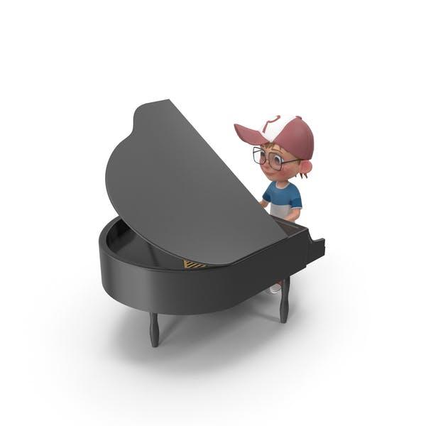 Мультфильм мальчик Гарри играет фортепиано