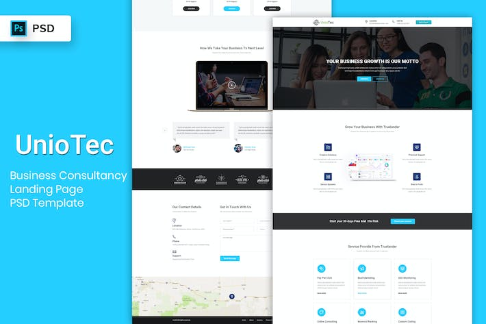 Thumbnail for Business Consultancy - Landing Page PSD Template