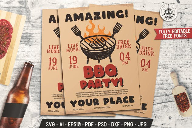 Barbecue Amazing Party Flyer. Summer BBQ Brochure - product preview 0
