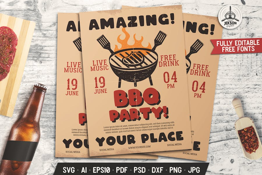Barbecue Amazing Party Flyer. Summer BBQ Brochure