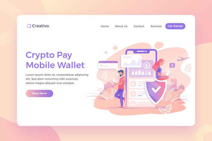 Thumbnail for Crypto Pay Mobile, Currency Wallet Landing Page