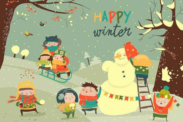 Cover Image For Cute kids playing winter games