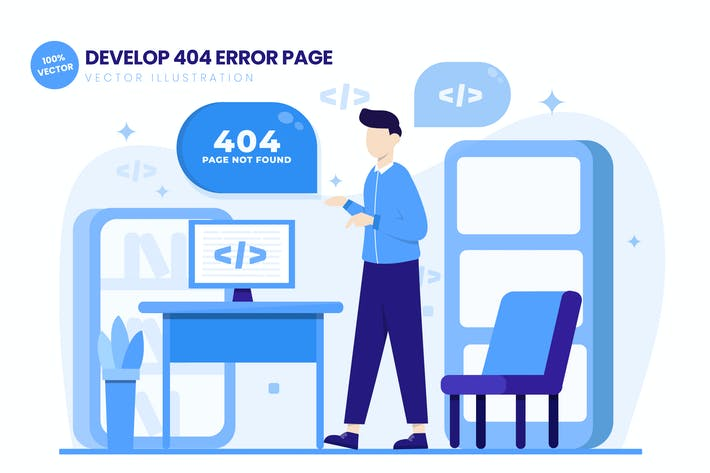 Thumbnail for Develop 404 Error Page Flat Vector Illustration
