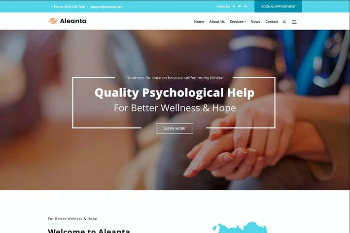 Thumbnail for Aleanta - Psychology WordPress Theme