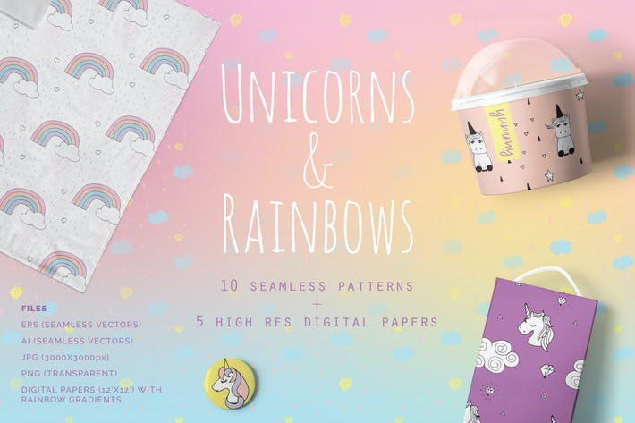 Thumbnail for Unicorns & Rainbows Patterns