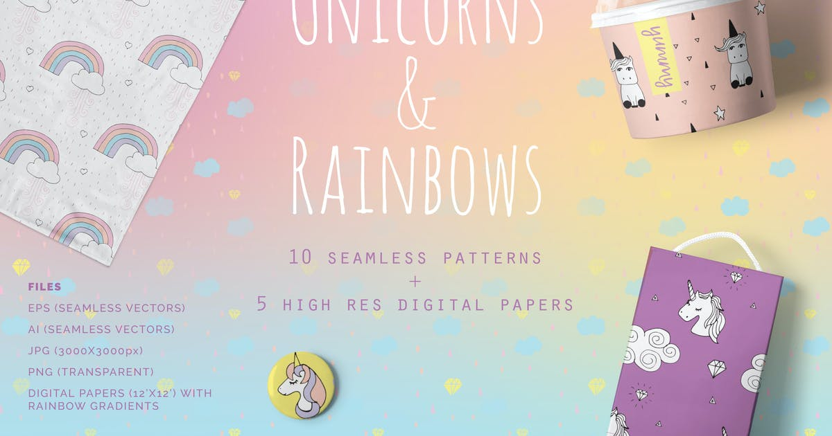 Download Unicorns & Rainbows Patterns by Youandigraphics